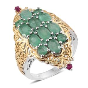 Kagem Zambian Emerald, Ruby 14K YG and Platinum Over Sterling Silver Elongated Openwork Ring (Size 9.0) TGW 4.580 cts.