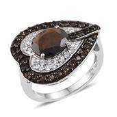 Chocolate Sapphire, Brazilian Smoky Quartz, White Topaz Platinum Over Sterling Silver Side Heart Ring (Size 7.0) TGW 4.90 cts.
