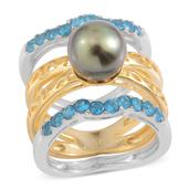 Tahitian Pearl, Malgache Neon Apatite 14K YG Over Sterling Silver Set of 3 Rings (Size 6) TGW 0.800 cts.