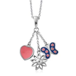 Stainless Steel Pink and Blue Enameled Charm Pendant With Chain (20 in)