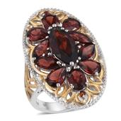 Mozambique Garnet 14K YG and Platinum Over Sterling Silver Ring (Size 6.0) TGW 11.349 cts.