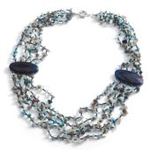 Blue Agate, Seed Bead Silvertone Multi Strand Necklace (24 in) TGW 250.000 Cts.