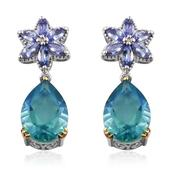 Peacock Quartz, Tanzanite 14K YG and Platinum Over Sterling Silver Earrings TGW 12.800 Cts.