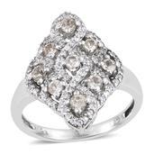 Turkizite, White Zircon Platinum Over Sterling Silver Ring (Size 9.0) TGW 2.200 cts.