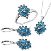 Malgache Neon Apatite Platinum Over Sterling Silver Lever Back Earrings, Ring (Size 10) and Pendant With Chain (20 in) TGW 4.710 Cts.