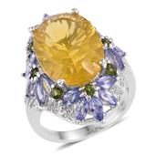 Canary Yellow Fluorite, Multi Gemstone Platinum Over Sterling Silver Elongated Ring (Size 7.0) TGW 18.220 cts.