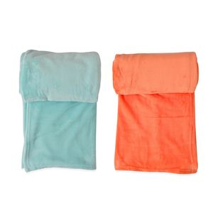 MEGA CLEARANCE Set of 2 Aqua and Orange Flannel Throws (50x60 in)