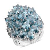 Cambodian Blue Zircon Sterling Silver Ring (Size 6.0) TGW 6.57 cts.
