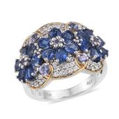 Himalayan Kyanite, Tanzanite, White Zircon 14K YG and Platinum Over Sterling Silver Ring (Size 8.0) TGW 3.900 cts.