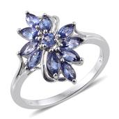 Premium AAA Tanzanite Platinum Over Sterling Silver Split Ring (Size 5.0) TGW 1.430 cts.