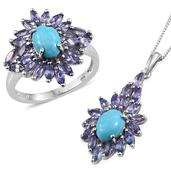Arizona Sleeping Beauty Turquoise, Tanzanite Platinum Over Sterling Silver Ring (Size 5) and Pendant With Chain (20 in) TGW 5.810 cts.