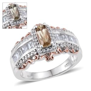 Turkizite, White Topaz 14K RG and Platinum Over Sterling Silver Ring (Size 8.0) TGW 3.48 cts.