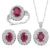 Niassa Ruby, Multi Sapphire, White Zircon Sterling Silver Earrings, Ring (Size 9) and Pendant With Chain (18 in) TGW 10.010 cts.