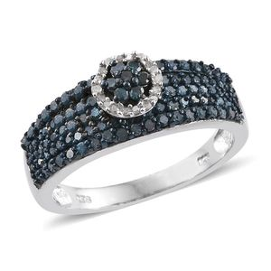 Blue Diamond (IR), Diamond Platinum Over Sterling Silver Ring (Size 7.0) TDiaWt 1.01 cts, TGW 1.005 cts.