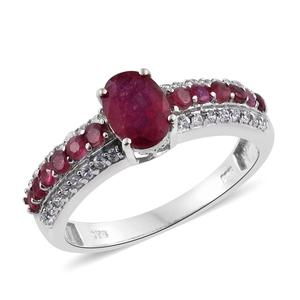 Niassa Ruby, White Zircon Platinum Over Sterling Silver Ring (Size 7.0) TGW 2.750 cts.