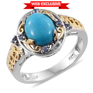 Arizona Sleeping Beauty Turquoise, Tanzanite 14K YG and Platinum Over Sterling Silver Openwork Ring (Size 5.0) TGW 2.110 cts.