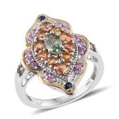 Multi Sapphire 14K YG and Platinum Over Sterling Silver Ring (Size 5.0) TGW 3.110 cts.