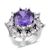 Simulated Purple and White Diamond Stainless Steel Ring (Size 8.0) TGW 15.00 cts.