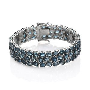 London Blue Topaz, White Zircon Platinum Over Sterling Silver 3 Row Cluster Bracelet (7.00 In) TGW 50.900 cts.