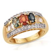 Multi Sapphire, White Topaz 14K YG Over Sterling Silver Ring (Size 7.0) TGW 2.41 cts.