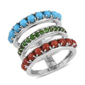 Mediterranean Coral, Arizona Sleeping Beauty Turquoise, Russian Diopside Platinum Over Sterling Silver Open 3 Band Ring (Size 5.0) TGW 3.77 cts.