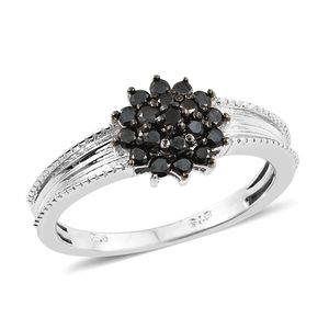 Black Diamond (IR) Platinum Over Sterling Silver Ring (Size 8.0) TDiaWt 0.52 cts, TGW 0.52 cts.