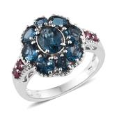 London Blue Topaz, Mahenge Pink Spinel Platinum Over Sterling Silver Ring (Size 7.0) TGW 4.720 cts.