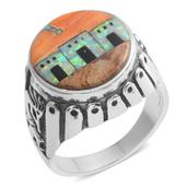 Santa Fe Style Lab Created Opal, Multi Gemstone Sterling Silver Men's Ring (Size 12.0) TGW 3.552 cts.