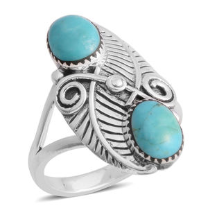Santa Fe Style Kingman Turquoise Sterling Silver Floral Bypass Ring (Size 9.0) TGW 6.00 cts.