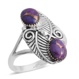 Santa Fe Style Mojave Purple Turquoise Sterling Silver Ring (Size 10.0) TGW 6.00 cts.
