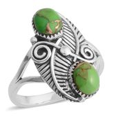 Santa Fe Style Mojave Green Turquoise Sterling Silver Ring (Size 9.0) TGW 6.00 cts.