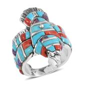 Santa Fe Style Multi Gemstone Sterling Silver Eagle Men's Band Ring (Size 11.0) TGW 8.501 cts.