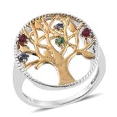 Multi Gemstone ION Plated YG and Stainless Steel Tree of Life Ring (Size 6.0) TGW 0.25 cts.