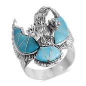 Santa Fe Style Mojave Blue Turquoise Sterling Silver Men's Eagle Ring (Size 10.0) TGW 16.500 cts.