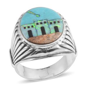 Santa Fe Style Mojave Blue Turquoise, Multi Gemstone Sterling Silver Men's Ring (Size 12.0) TGW 2.501 cts.