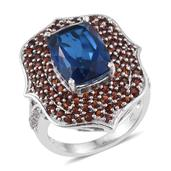 Brazilian Azul Quartz, Mozambique Garnet, White Zircon Platinum Over Sterling Silver Statement Ring (Size 6.0) TGW 10.86 cts.