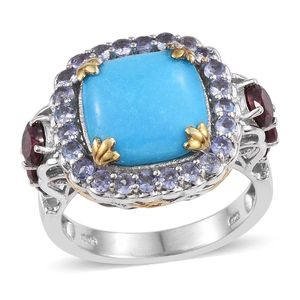Arizona Sleeping Beauty Turquoise, Orissa Rhodolite Garnet, Tanzanite 14K YG and Platinum Over Sterling Silver Ring (Size 10.0) TGW 9.05 cts.