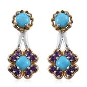 Arizona Sleeping Beauty Turquoise, Amethyst 14K YG and Platinum Over Sterling Silver Ear Jacket Earrings TGW 1.940 Cts.