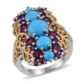 Arizona Sleeping Beauty Turquoise, Orissa Rhodolite Garnet 14K YG and Platinum Over Sterling Silver Elongated Ring (Size 6.0) TGW 6.14 cts.