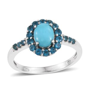 Arizona Sleeping Beauty Turquoise, Malgache Neon Apatite Platinum Over Sterling Silver Ring (Size 10.0) TGW 1.700 cts.