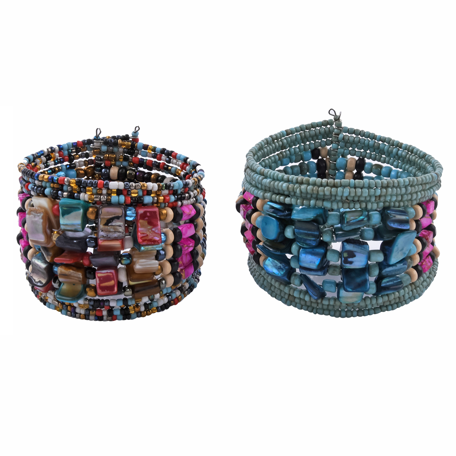 Set of 2 Multi Color Seed Bead, Shell Silvertone Cuffs