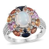 Tony's Collector Show Ethiopian Welo Opal, Multi Gemstone Platinum Over Sterling Silver Ring (Size 8.0) TGW 5.53 cts.