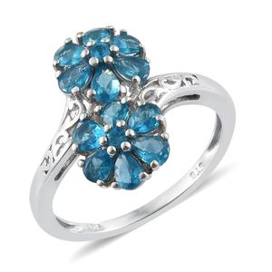 Malgache Neon Apatite Platinum Over Sterling Silver Two Souls Bypass Ring (Size 6.0) TGW 1.75 cts.