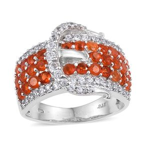 Jalisco Fire Opal, White Zircon Platinum Over Sterling Silver Buckle Ring (Size 7.0) TGW 2.500 cts.