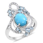 Arizona Sleeping Beauty Turquoise, Electric Blue Topaz, White Zircon Platinum Over Sterling Silver Openwork Split Ring (Size 6.0) TGW 4.01 cts.
