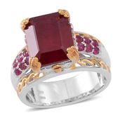 Niassa Ruby (FF), Ruby 14K YG and Platinum Over Sterling Silver Openwork Lifted Bridge Ring (Size 9.0) TGW 10.54 cts.