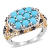 Arizona Sleeping Beauty Turquoise, Thai Black Spinel 14K YG and Platinum Over Sterling Silver Openwork Cluster Ring (Size 6.0) TGW 2.800 cts.
