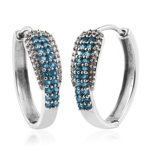 Malgache Neon Apatite, White Zircon Platinum Over Sterling Silver Huggie Hoop Earrings TGW 1.49 cts.