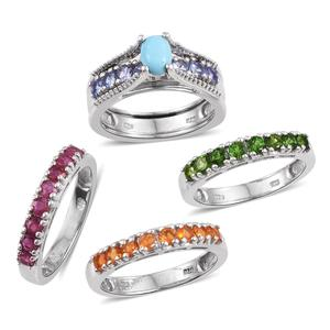 Set of 5 Arizona Sleeping Beauty Turquoise, Multi Gemstone Platinum Over Sterling Silver Interchangeable Rings (Size 5.0) TGW 3.580 cts.