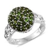 Russian Diopside Platinum Over Sterling Silver Openwork Cluster Ring (Size 8.0) TGW 1.720 cts.